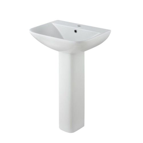Carmela 550mm Basin & Full Pedestal - 1 Tap Hole